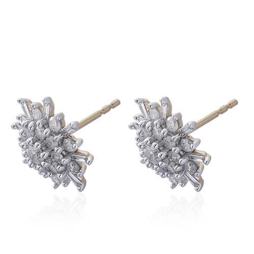 9K Yellow Gold 1 Carat Diamond Cluster Snowflake Stud Earrings SGL Certified I3 G-H.
