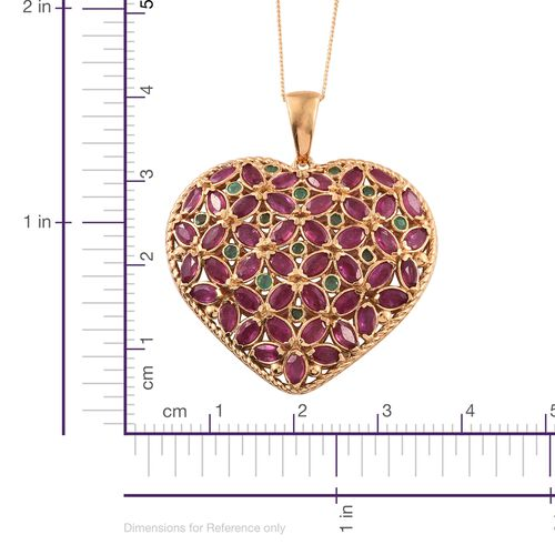 AAA African Ruby (Mrq), Kagem Zambian Emerald Pendant with Chain in 14K Gold Overlay Sterling Silver 10.000 Ct. Silver wt 10.87 Gms.