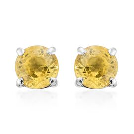 Chanthaburi Yellow Sapphire (Rnd) Stud Earrings (with Push Back) in Platinum Overlay Sterling Silver 1.100 Ct.