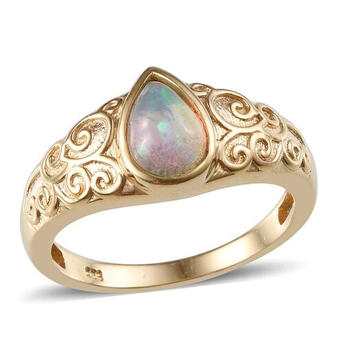 Ethiopian Welo Opal (Pear) Solitaire Ring in 14K Gold Overlay Sterling Silver 0.750 Ct.