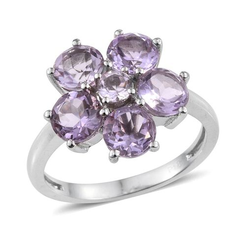 Rose De France Amethyst (Rnd) Floral Ring in ION Plated Platinum Bond 3.750 Ct.