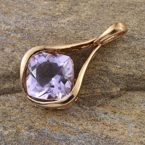 Rose De France Amethyst (Cush) Solitaire Pendant in 14K Gold Overlay Sterling Silver 4.000 Ct.