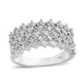 Designer Inspired Fire Cracker Diamond (Bgt) Ring in Platinum Overlay Sterling Silver 0.500 Ct.
