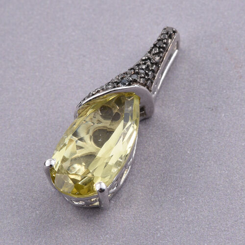 (Option 1) Natural Green Gold Quartz (Pear), Black Diamond Pendant in Platinum Overlay Sterling Silver 4.000 Ct.
