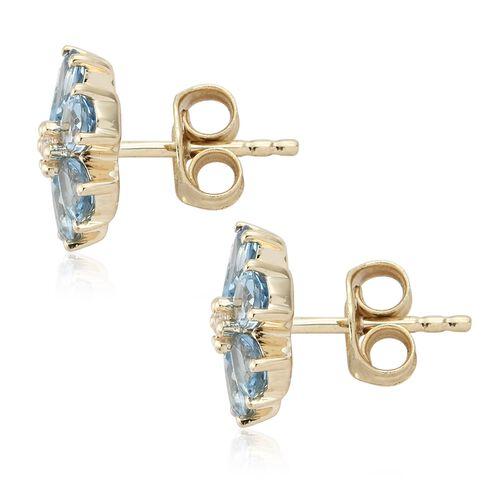 9K Yellow Gold AA Santa Maria Aquamarine (Pear), Natural Cambodian Zircon Flower Stud Earrings (with Push Back) 1.500 Ct.