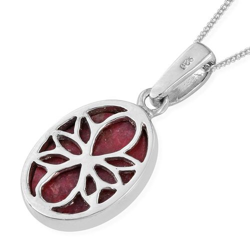 Norwegian Thulite (Ovl) Solitaire Pendant With Chain in Platinum Overlay Sterling Silver 6.500 Ct.