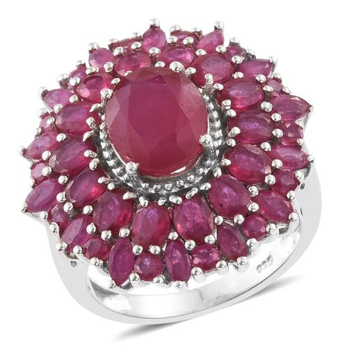 African Ruby (Ovl 2.50 Ct) Flower Ring in Platinum Overlay Sterling Silver 8.000 Ct.