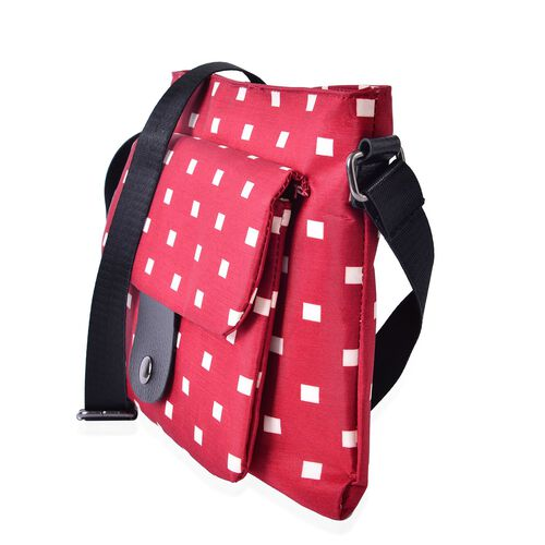 Red and Cream Colour Square Dots Pattern Crossbody Bag with Adjustable Shoulder Strap (Size 28x21.5 Cm)
