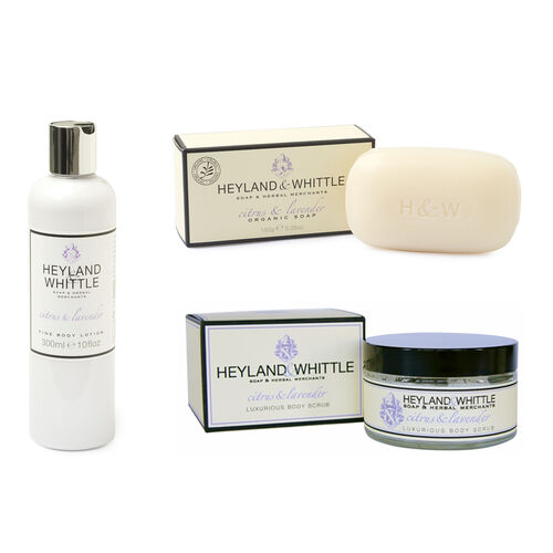 HEYLAND AND WHITTLE- Citrus and Lavender body scrub, organic bar, body lotion