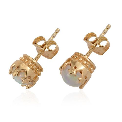 Ethiopian Welo Opal (Rnd) Stud Earrings (with Push Back) in 14K Gold Overlay Sterling Silver 1.000 Ct.