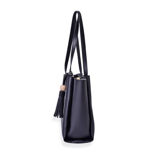 Black Colour Tote Bag With Tassels and Shoulder Strap (Size 33x26.5x23.5x11.5 Cm)