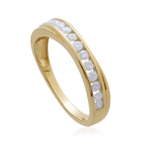 9K Yellow Gold SGL Certified 0.50 Carat Diamond Half Eternity Band Ring (I 3/G-H).