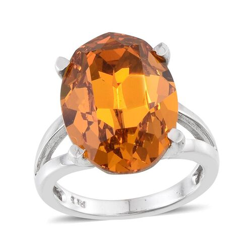 Crystal from Swarovski - Topaz Colour Crystal (Ovl) Ring in ION Plated Platinum Bond 10.500 Ct.