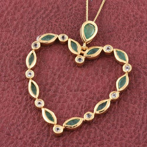 Kagem Zambian Emerald (Pear), White Topaz Heart Pendant with Chain in 14K Gold Overlay Sterling Silver 2.000 Ct.