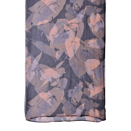 100% Mulberry Silk Black and Coffee Colour Floral Printed Scarf (Size 150X80 Cm)