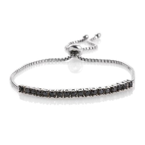 Black Diamond (Rnd) Adjustable Bracelet (Size 6.5 to 9 Inch) in Platinum Overlay Sterling Silver 1.000 Ct.
