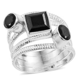 Boi Ploi Black Spinel Multi Stacking Ring in Sterling Silver 3.670 Ct. Silver wt 5.11 Gms.