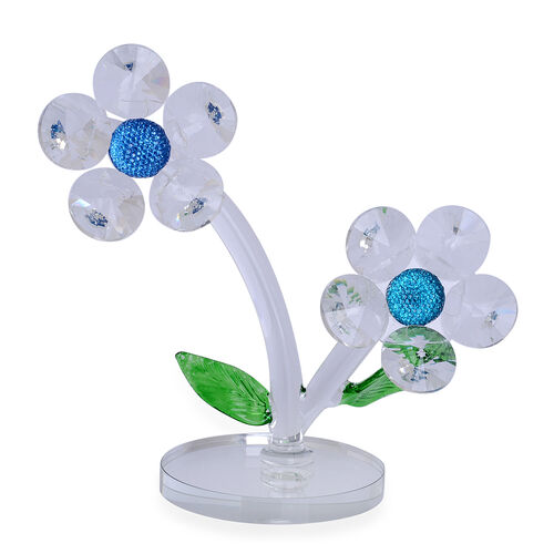 Home Decor - Blue, White and Green Austrian Crystal, White Glass Two Flowers