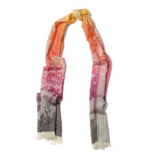 Modal and Cotton Yellow and Pink Colour Abstract Print Shawl (Size 170x70 Cm)