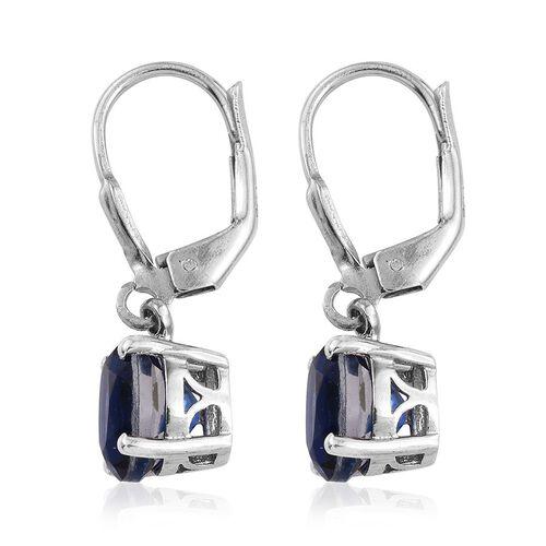 Ceylon Colour Quartz (Ovl) Lever Back Earrings in Platinum Overlay Sterling Silver 3.250 Ct.