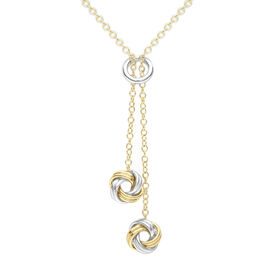9K Yellow and White Gold Drop Knot Necklace (Size 18)