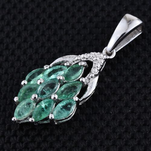 Kagem Zambian Emerald (Mrq) Pendant in Platinum Overlay Sterling Silver 1.250 Ct.
