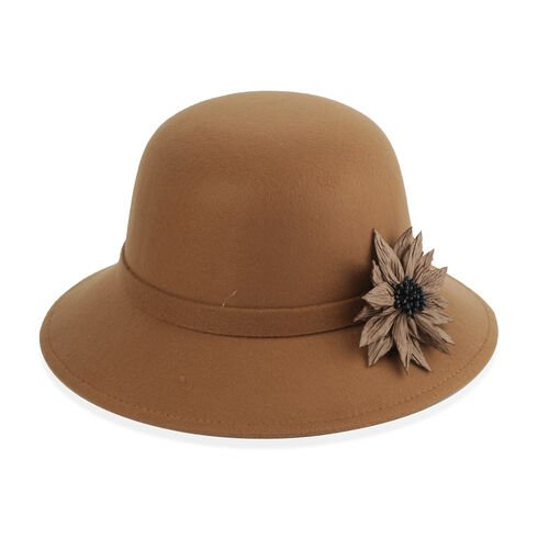 Khaki Colour Flower Adorned Hat (Size 16 Cm)