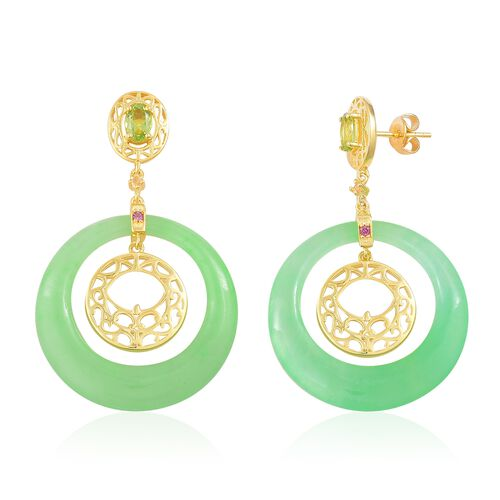 Green Jade, Hebei Peridot, Rhodolite Garnet and Citrine Concentric Circle Earrings (with Push Back) in Yellow Gold Overlay Sterling Silver 39.880 Ct.