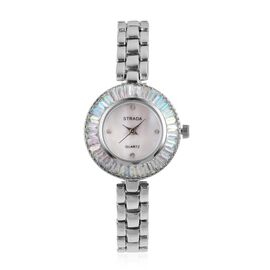STRADA Japanese Movement White MOP Dial with White Austrian Crystal Studded and Simulated Magic Colour Diamond Water Resistant Watch in Silver Tone with Chain Strap