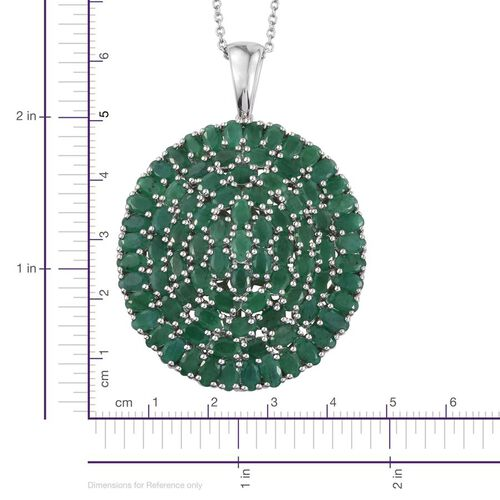 Kagem Zambian Emerald (Ovl) Cluster Pendant With Chain in Platinum Overlay Sterling Silver 19.500 Ct.