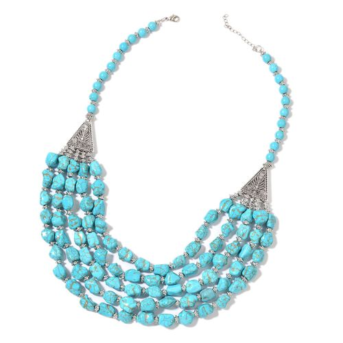 Blue Howlite Multi Strand Necklace (Size 20 with 2 inch Extender) and Bracelet (Size 7.5 with 2 inch Extender) in Silver Tone 1070.00 Ct.