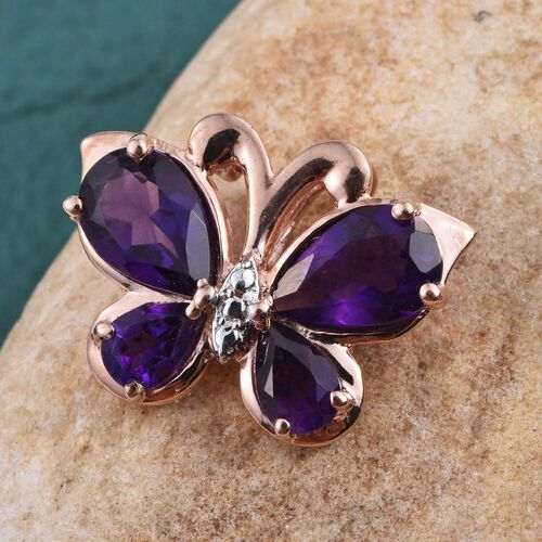 Amethyst (Pear) Butterfly Pendant in Rose Gold Overlay Sterling Silver 3.000 Ct.