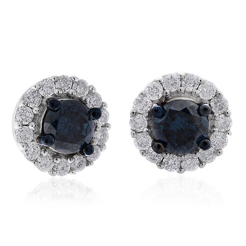 9K White Gold 0.75 Carat Blue Diamond Stud Earrings (with Push Back) with White Diamond SGL Certified (I3/G-H)