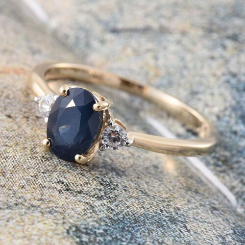 9K Yellow Gold 1.25 Ct AA Kanchanaburi Blue Sapphire Ring with Natural Cambodian Zircon