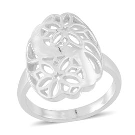 Thai Rhodium Plated Sterling Silver Floral Ring, Silver wt 4.00 Gms.