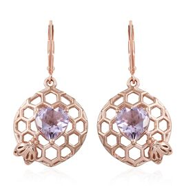 GP Rose De France Amethyst (Hrt), Kanchanaburi Blue Sapphire Lever Back Earrings in Rose Gold Overlay Sterling Silver 3.250 Ct. Silver wt 6.50 Gms.