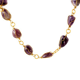 Amethyst Brazil Necklace (Size 18) in Yellow Gold Bond 155.000 Ct.