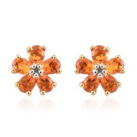 Jalisco Fire Opal (Pear), Diamond Flower Stud Earrings (with Push Back) in 14K Gold Overlay Sterling Silver 1.000 Ct.