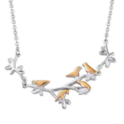 Platinum and Yellow Gold Overlay Sterling Silver Birds and Branches Necklace (Size 18), Silver wt 3.37 Gms.