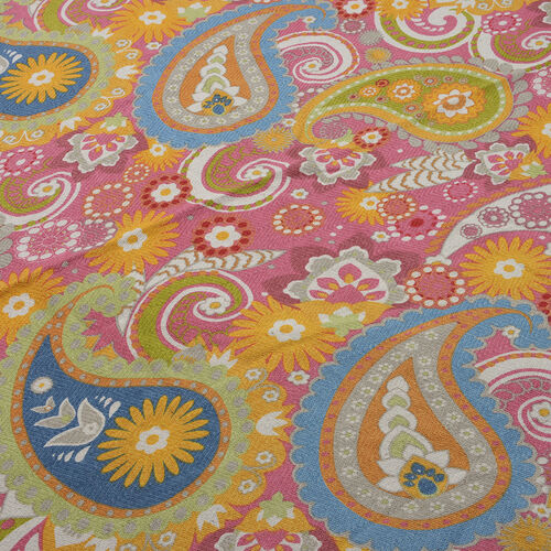 100% Cotton Blue, Pink and Multi Colour Paisley Printed Round Beach Rug with Fringes (Size 140 Cm Diameter)