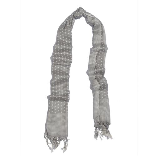NEW FOR SEASON - Hand Screen Printed Grey and White Colour Dots Printed Scarf (Size 180x55 Cm)