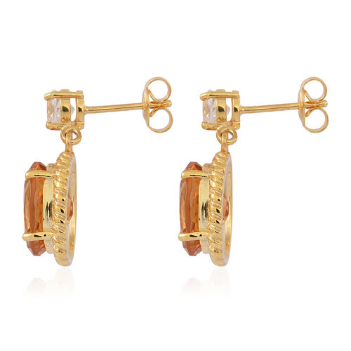 Citrine (Ovl), White Topaz Earrings (with Push Back) in 14K Gold Overlay Sterling Silver 7.500 Ct.