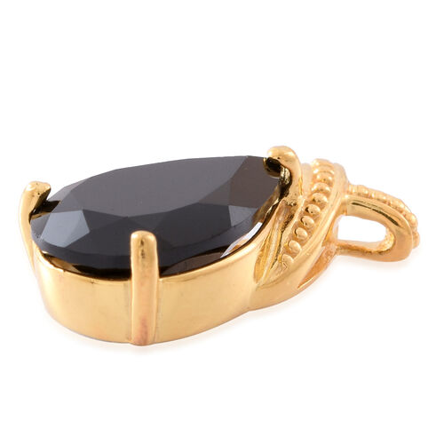 Boi Ploi Black Spinel (Pear) Solitaire Pendant in 14K Gold Overlay Sterling Silver 7.000 Ct.