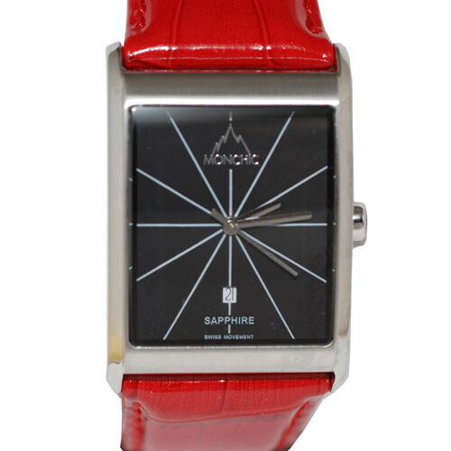 MONCHIC Swiss Movement 2 Hand and Date Red Leather Strap Watch
