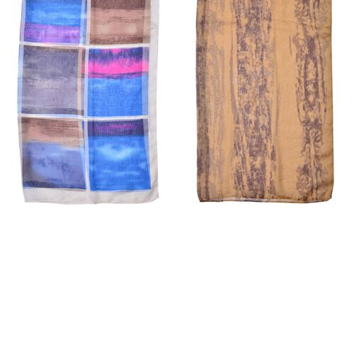 Set of 2 - Designer Inspired Checks Pattern Blue and Pink Colour and Chocolate Colour Scarf (Size 175x70 Cm)