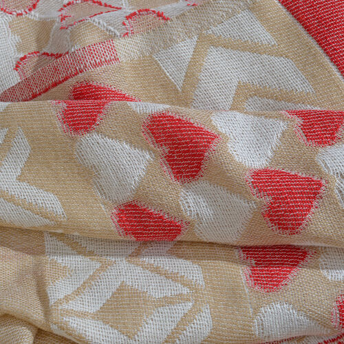 Beige, Red and Off White Colour Heart Pattern Scarf with Fringes (Size 180X70 Cm)