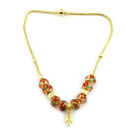 Glass Beads Necklace (Size 18) in Gold Tone