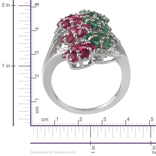 Kagem Zambian Emerald (Rnd), African Ruby Floral Ring in Platinum Overlay Sterling Silver 4.000 Ct.