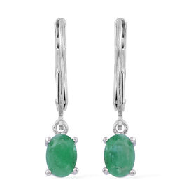 Kagem Zambian Emerald (Ovl) Lever Back Earrings in Rhodium Plated Sterling Silver 0.900 Ct.