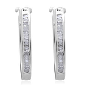 Diamond (Bgt) Hoop Earrings (with Clasp) in Platinum Overlay Sterling Silver 0.250 Ct.